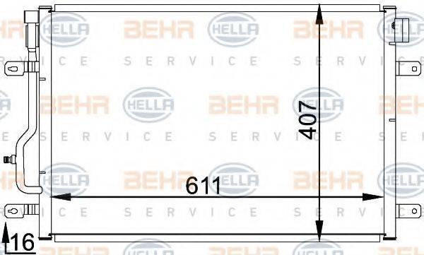 BEHR HELLA SERVICE 8FC351301071 Конденсатор, кондиционер