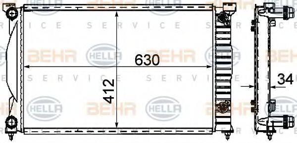 BEHR HELLA SERVICE 8MK376781061 Радиатор, охлаждение двигателя