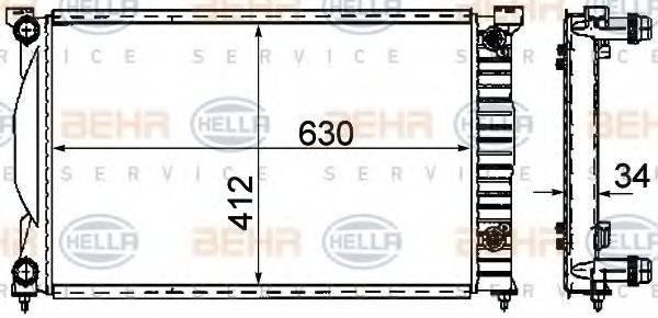 HELLA 8MK376781061 Радиатор, охлаждение двигателя