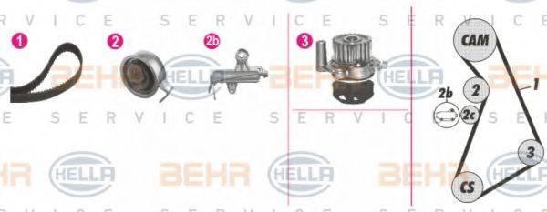 HELLA 8MP376811831 Водяной насос + комплект зубчатого ремня