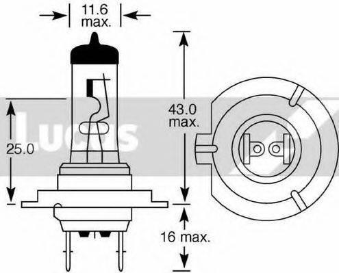 LUCAS ELECTRICAL LLB477 Лампа накаливания, фара дальнего света; Лампа накаливания, основная фара; Лампа накаливания, противотуманная фара