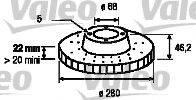 VALEO 186582 Тормозной диск