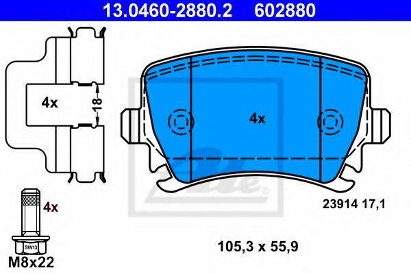 ATE 13046028802 Комплект тормозных колодок, дисковый тормоз