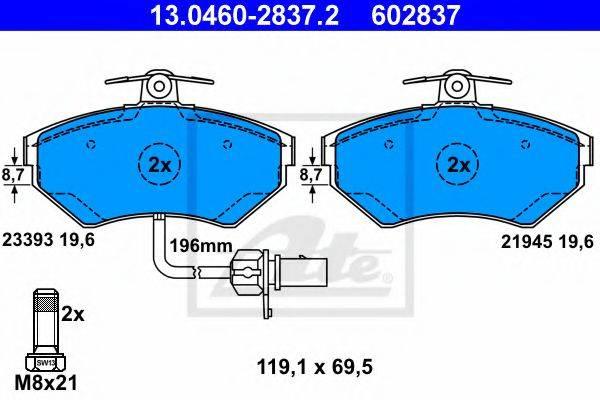 ATE 13046028372 Комплект тормозных колодок, дисковый тормоз