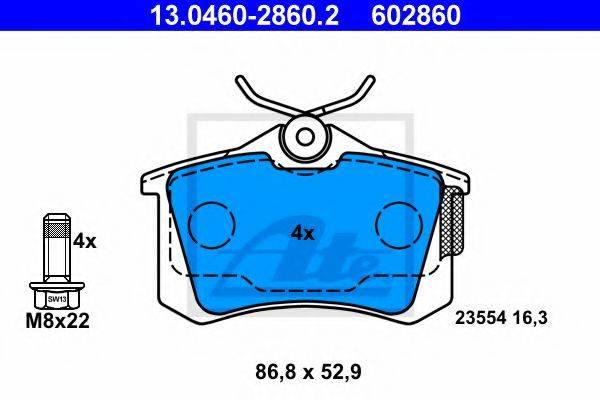 ATE 13046028602 Комплект тормозных колодок, дисковый тормоз