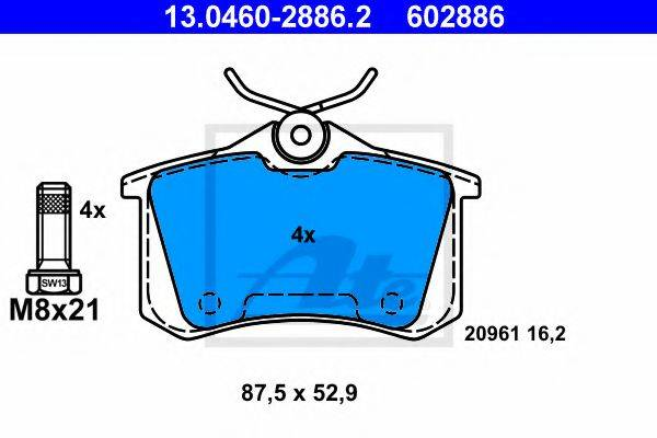 ATE 13046028862 Комплект тормозных колодок, дисковый тормоз