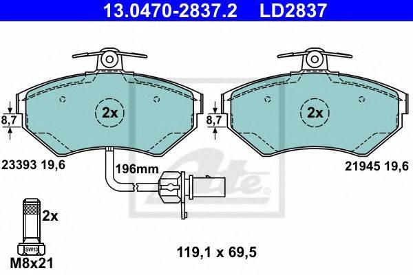 ATE 13047028372 Комплект тормозных колодок, дисковый тормоз