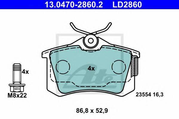 ATE 13047028602 Комплект тормозных колодок, дисковый тормоз