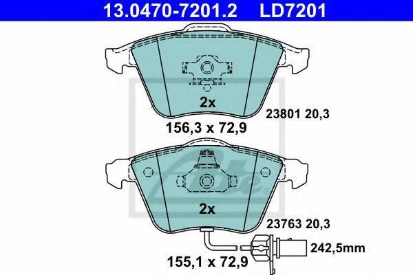 ATE 13047072012 Комплект тормозных колодок, дисковый тормоз
