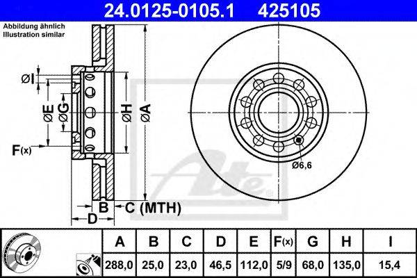 ATE 24012501051 Тормозной диск