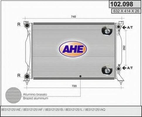 AHE 102098 Радиатор, охлаждение двигателя