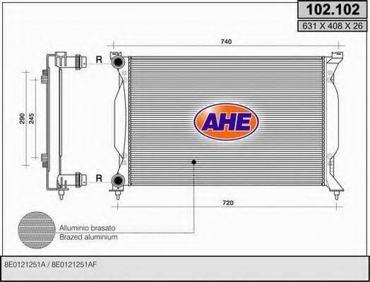 AHE 102102 Радиатор, охлаждение двигателя