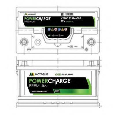 MOTAQUIP VBZ80 Стартерная аккумуляторная батарея