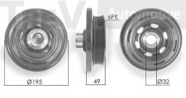 TREVI AUTOMOTIVE PC1227 Ременный шкив, коленчатый вал