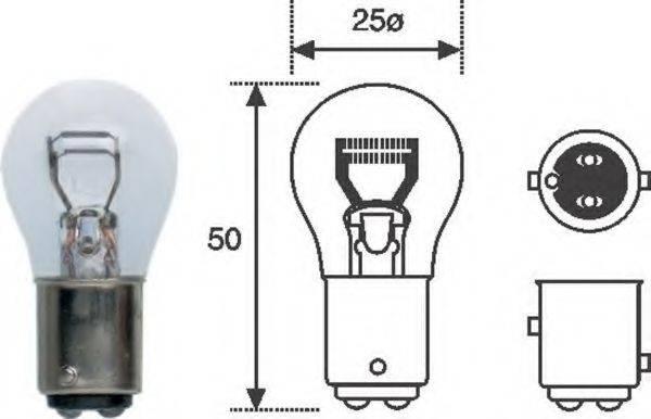 Лампа накаливания, фонарь сигнала торможения; Лампа накаливания, стояночные огни / габаритные фонари; Лампа накаливания MAGNETI MARELLI 008528100000